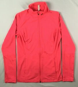 UNDER ARMOUR all season gear fitted pink full zip track jacket WOMENS LARGE L
