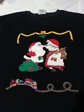Black Santa and Mrs. Claus w/ Train Westbound II Size 3X Ugly Christmas