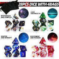 28pcs/Set Polyhedral Dice for DND RPG MTG Game Dragons D4-D20 Colors C