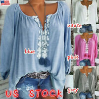 Plus Size Womens Casual Loose Long Sleeve Top Lace Flower T-Shirt V Neck Blouse