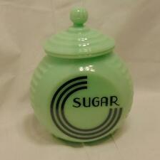Sugar Canister Jar Jadeite Green Reproduction Depression Glass Art Deco #518J
