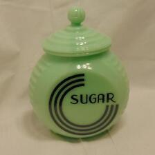 Sugar Canister Jar Jadeite Green Reproduction Depression Glass Art Deco #518J