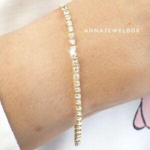 High Quality Gold Cubic Zirconia Crystal Tennis Bracelet Bangle Bridal Birthday