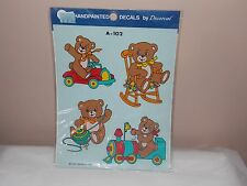 Vtg 1989 Decoral Handpainted Waterslide Decals Teddy Bears A-102 New Old Stock