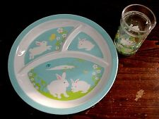 NWT 2 Piece Set Kids EASTER MELAMINE PLATE Matching Cup 3 Sectioned Dish CUTE