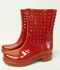 J2076 New Women's Betseyville Betsey Johnson Victoria Red Rubber Rain Boot 8 M