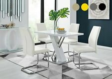 SORRENTO White High Gloss Chrome Dining Table Set and 4 Leather Chairs Seater