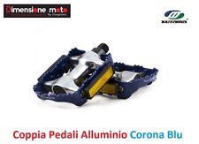 0084 - Coppia Pedali XERAMA Alluminio Corona Blu per Bici 26-28 Retrò Old Style