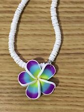 Purple Plumeria Fimo Flower Puka Shell Necklace Hawaii