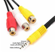 3.5mm Mini AV Plug Male To 3RCA Female Audio Video Cable Jack Adapter Cord UK