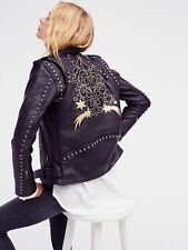 Free People x Understated Gold Rush Studded Leather Biker Jacket Size M NEW $798