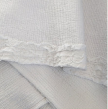 Hamptons Ruffle Shabby Frill Chic White Quilt Throw Bed Blanket Sofa Quilt New