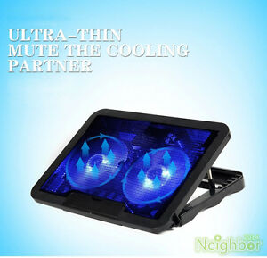 New 2 Fans LED USB Cooling Adjustable Stand Pad Cooler For Laptop Notebook 14""