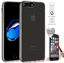 For Apple iPhone 7 Plus Case Silicone Clear Cover Bumper Rubber + Tempered Glass