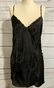 Fredericks of Hollywood size small black with leopard print Nightie Lace up Side