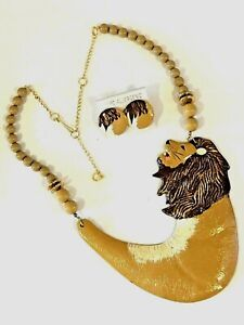 Artisan HAND PAINTED Statement LION Fashion NECKLACE EARRINGS SET Enamel