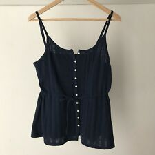 Lucky Brand Womens Black Strappy Button Front Cami Top, Size Small