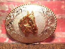 Heavy Beautiful MARE & COLT Western Crumrine USA Trophy BELT BUCKLE Make Offer