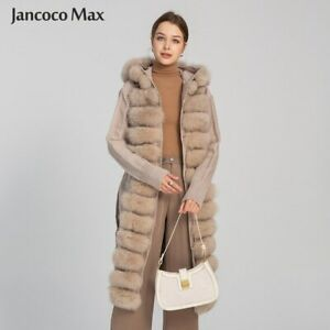 Winter Knitted Coat Long Cardigan with Real Fur Trim Real Fur Sweater Hood 33610