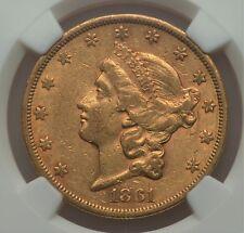 1861-S $20 XF45 NGC Double Eagle