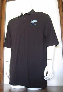 L Men VF Imagewear Detroit Lions NFL Polo Shirt Black 100% Cotton large EUC
