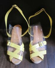 Vintage 1950s Sz 6 Flexiclogs Flexi Clog Wooden Sandals Articulated Rare Yellow