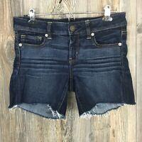 American Eagle Stretch Women's Blue Jean Shorts Cut-Off Dark Wash Size 8