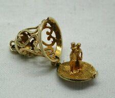 Lovely Ornate 9 Carat Gold Wedding Bell Charm With Bride And Groom