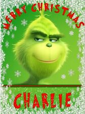 Personalised THE GRINCH CARTOON Birthday Cake Topper A4 Icing Sheet