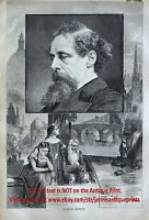 Charles Dickens Death Notice Memorial, Large 1870s Antique Engraving Print