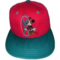 Vtg 80s Minnie Mouse Hat Snap Back Embroidred Med In USA Pink Teal Goofy Co RARE