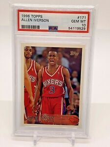 1996 Topps Allen Iverson Rookie 171 PSA 10- HOF!