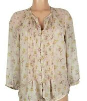 Daniel Rainn Women's Size Small Pink Blouse Floral Sheer 3/4 Sleeve Button Front