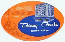 ISTANBUL TURKEY HOTEL DIVAN OTELI VINTAGE ART DECO LUGGAGE LABEL