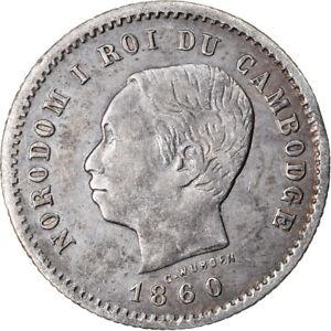 [#906426] Coin, Cambodia, 50 Centimes, 1860, EF(40-45), Silver, KM:M5
