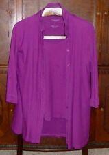 EILEEN FISHER 2- Piece Long Shirt & Shell Violet Organic Cotton Set Lot M