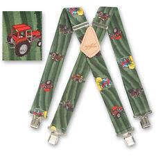 "Brimarc Mens Braces Heavy Duty Suspender 2"" 50mm Wide Green Tractor Field Braces"