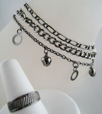 Dangling Antiqued Silvertome Bead Chain 3 Piece Ankle Bracelet Anklet & Toe Ring