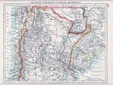 Mapa de 1912 ~ ~ América del Sur Uruguay Paraguay & Norte Argentina
