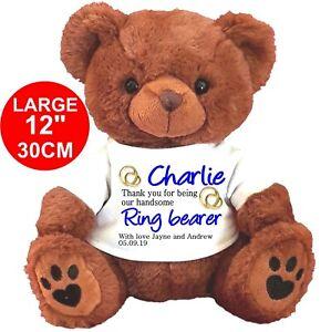 "PERSONALISED Teddy Bear BROWN 30CM/12""  RING BEARER USHER WEDDING PAGE BOY"