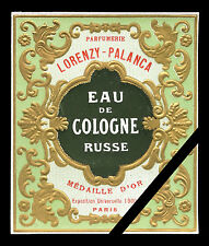 Embossed Antique French Perfume Label - Cologne Russe Lorenzy Palanca