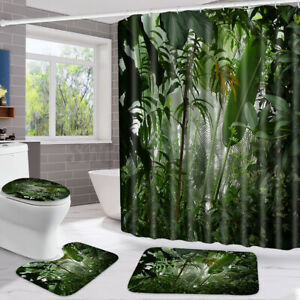 5.9ft Waterproof Shower Curtain Non-Slip Pedestal Rug + Toilet Cover + Bath
