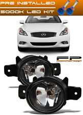 FOR 2011 Infiniti G37 Coupe Front Replacement Fog Lights Housing Clear Lens +LED