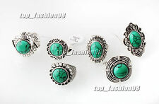 wholesale lots 5ps assorted tibetan tribe Turquoise gemstone Silver T ring FREE