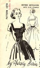 """Vintage 1950s Spadea Pattern Women's DRESS 1272 Harvey Berin Sz 10 B34"""" UNUSED"""