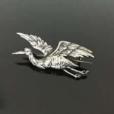 Broche Ancienne Cigogne Métal Argenté 1900 Antique Silver Plated Bird Brooch