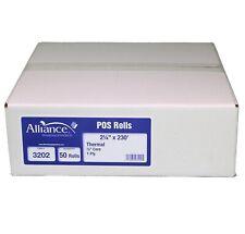 "Alliance Thermal Paper Receipt Rolls, 2 1/4"" x 230', White, 50 Rolls"