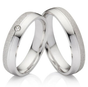 2 Eheringe Verlobungsringe aus 925 Silber mit echtem Diamant Lasergravur S7000