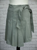 Topshop Grey Pleated Wrap Skirt 12 Asymmetric Tie Belt Cotton With Stretch