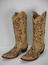 CORRAL A1970 ANTIQUE SADDLE BRUSHED CHOCOLATE INLAY COWBOY BOOTS WOMEN'S 7 M